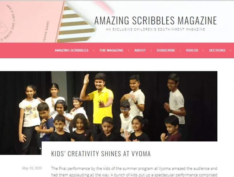 An article on Amazing Scribbles Magazine about Vyoma Summer Programs